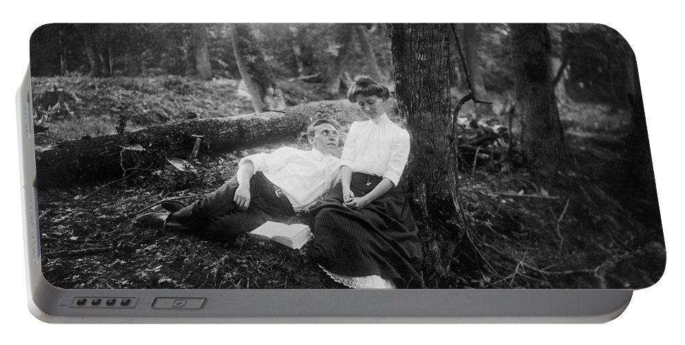 1900 Portable Battery Charger featuring the photograph Lovers, C1900 by Granger