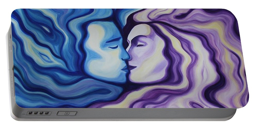 Acrylic Portable Battery Charger featuring the painting Lovers In Eternal Kiss by Jindra Noewi