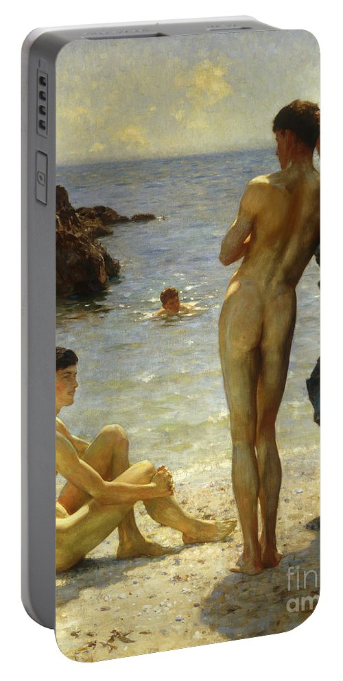 Nudes Portable Battery Charger featuring the painting Lovers Of The Sun by Henry Scott Tuke
