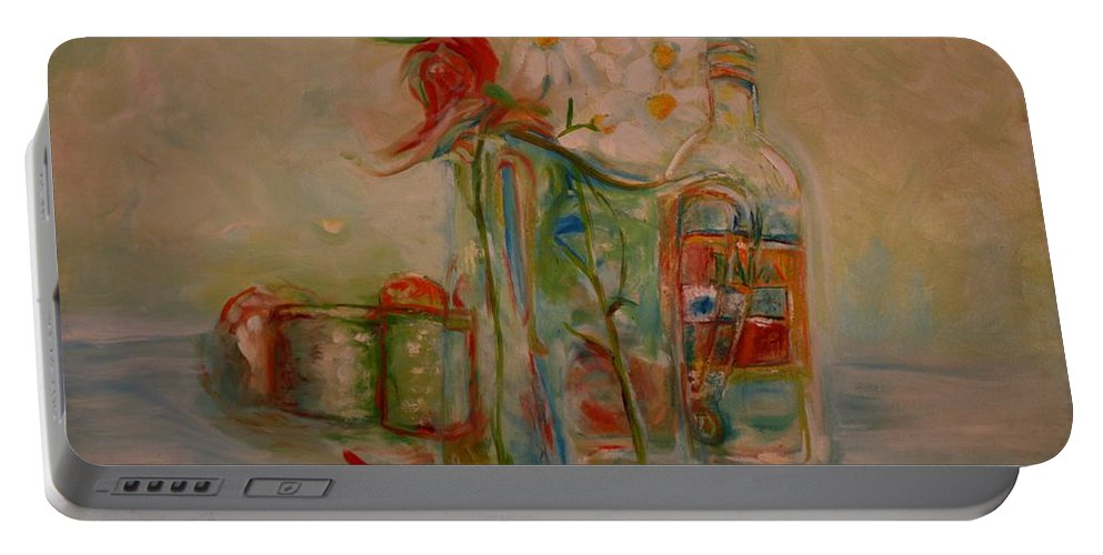 Rose Portable Battery Charger featuring the painting Lovers Picnic by Jack Diamond