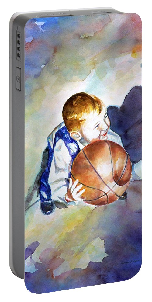 Watercolor Portable Battery Charger featuring the painting Loves the Game by Shannon Grissom