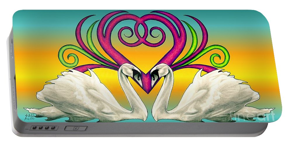 Swan Portable Battery Charger featuring the drawing Loving Souls by Sheryl Unwin