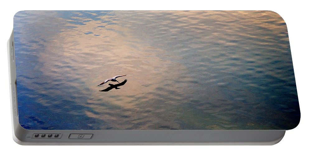 Pelican Portable Battery Charger featuring the photograph Low Flight by Mal Bray