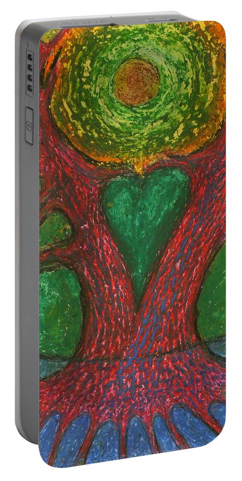 Colour Portable Battery Charger featuring the mixed media Low Homesickness by Wojtek Kowalski