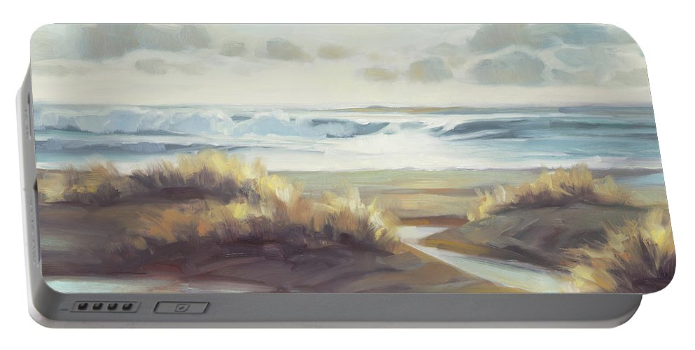 Ocean Portable Battery Charger featuring the painting Low Tide by Steve Henderson