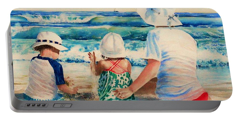 Beach Portable Battery Charger featuring the painting Low Tide by Tom Harris