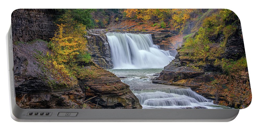 Autumn Portable Battery Charger featuring the photograph Lower Falls In Autumn by Rick Berk