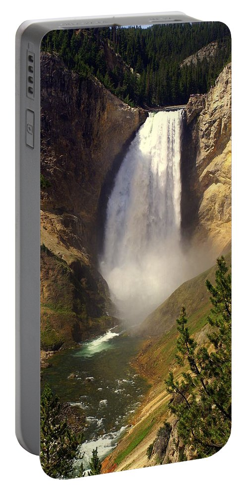 Waterfall Portable Battery Charger featuring the photograph Lower Falls by Marty Koch