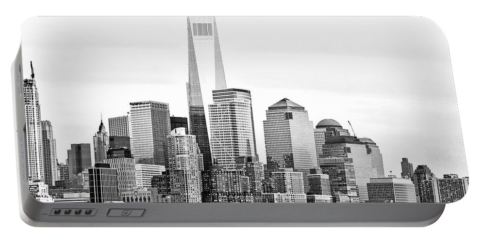 One World Trade Center Portable Battery Charger featuring the photograph Lower Manhattan In Black And White by Regina Geoghan