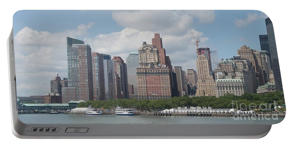 New York Portable Battery Charger featuring the photograph Lower Manhattan Panorama by Thomas Marchessault
