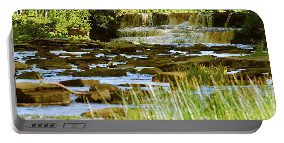 Tahquamenon Portable Battery Charger featuring the photograph Lower Tahquamenon Falls 6128 by Michael Peychich