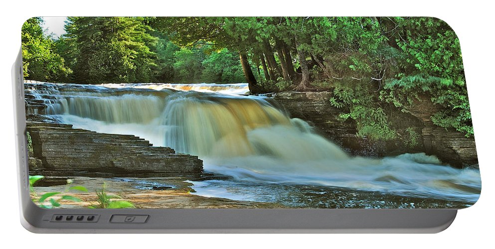 Landscape Portable Battery Charger featuring the photograph Lower Tahquamenon Falls by Michael Peychich