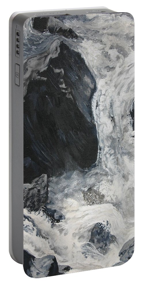 Water Portable Battery Charger featuring the painting Lower Vernal Black And White by Travis Day