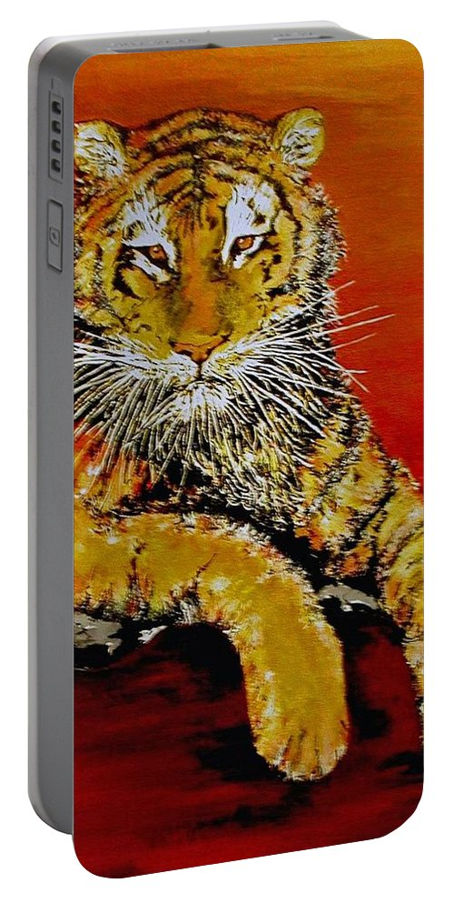 Tiger Portable Battery Charger featuring the painting Lsu Tiger by Stephen Broussard