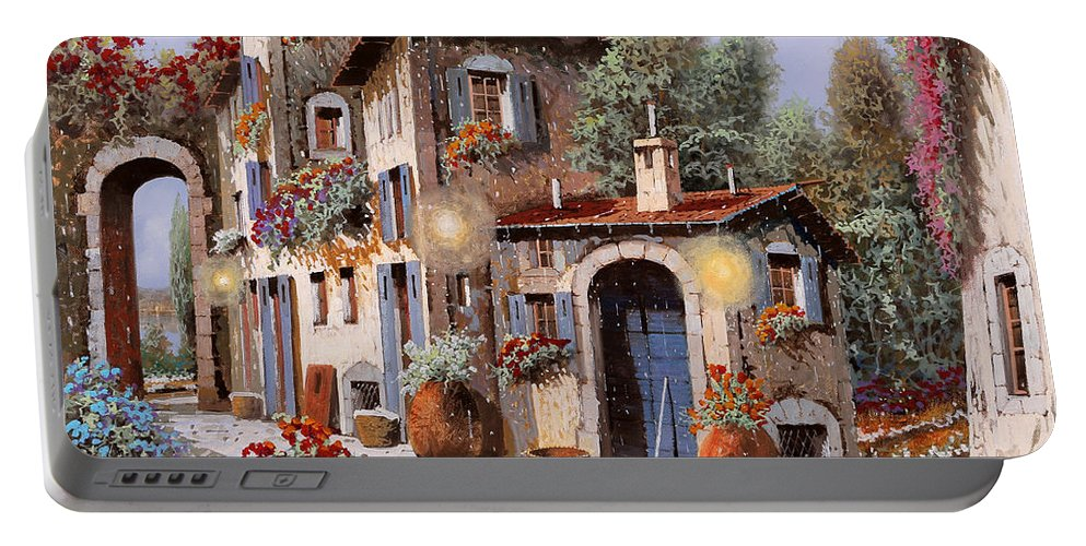 Houses Portable Battery Charger featuring the painting Luci All'entrata by Guido Borelli