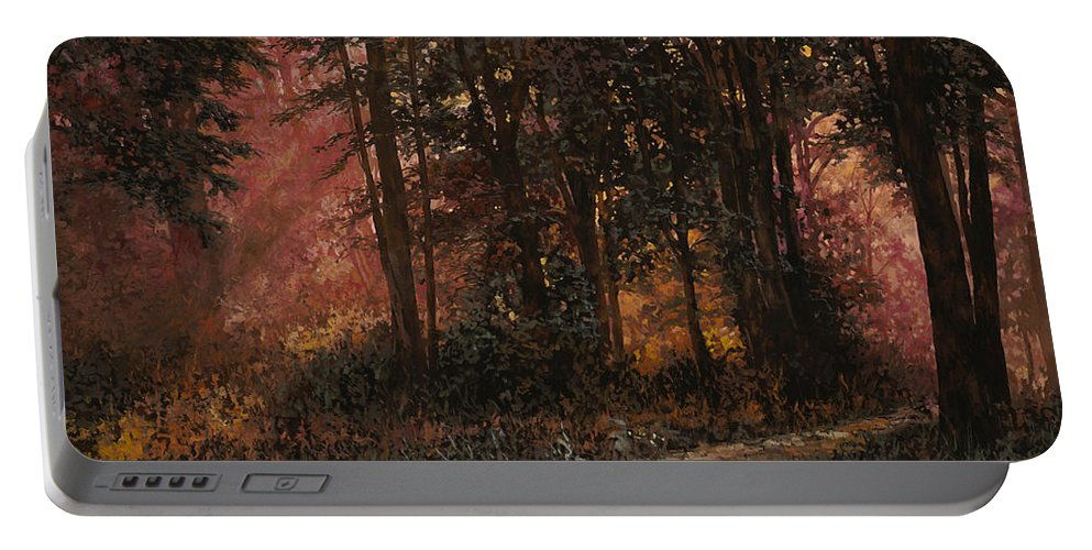 Wood Portable Battery Charger featuring the painting Luci Nel Bosco by Guido Borelli