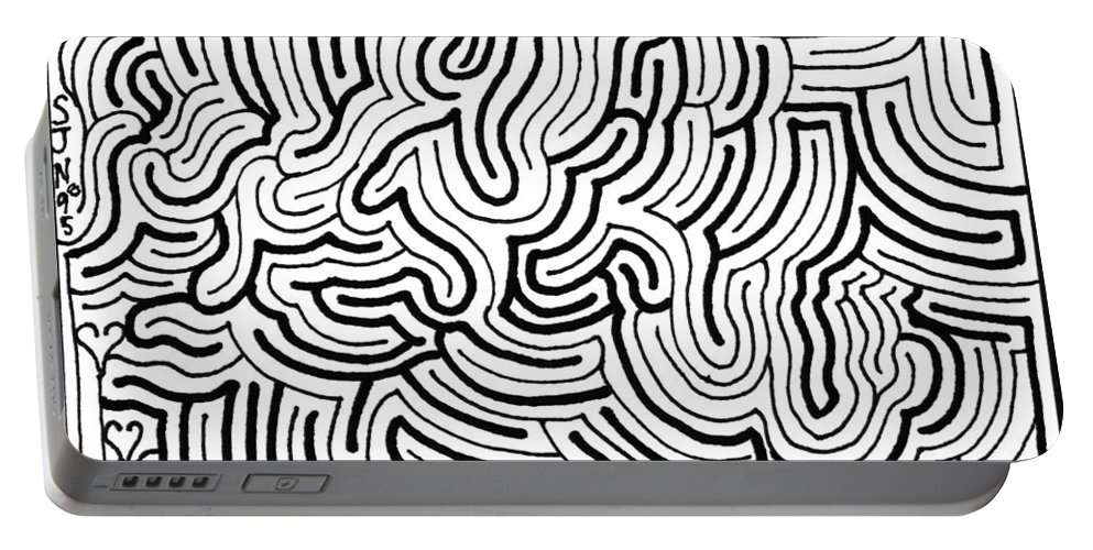 Mazes Portable Battery Charger featuring the drawing Lucidity by Steven Natanson