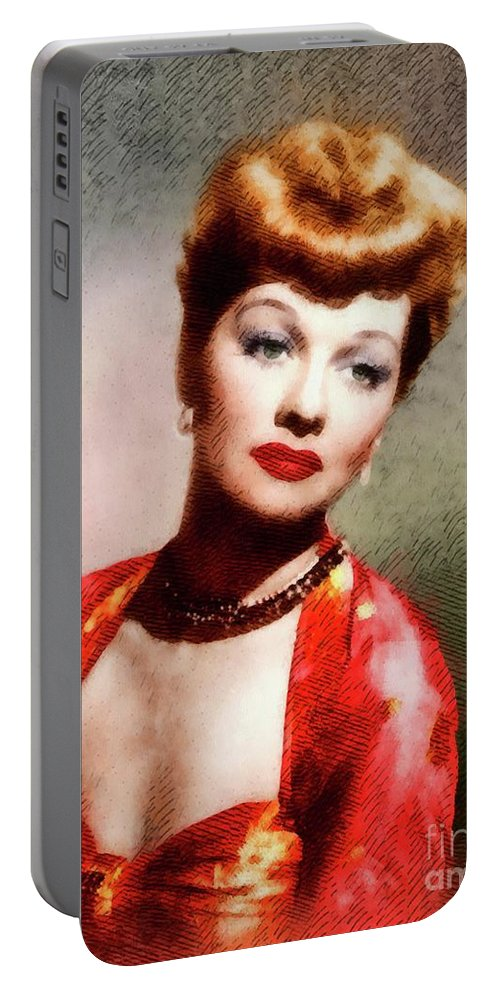 Lucy Portable Battery Charger featuring the painting Lucille Ball, Vintage Actress by John Springfield