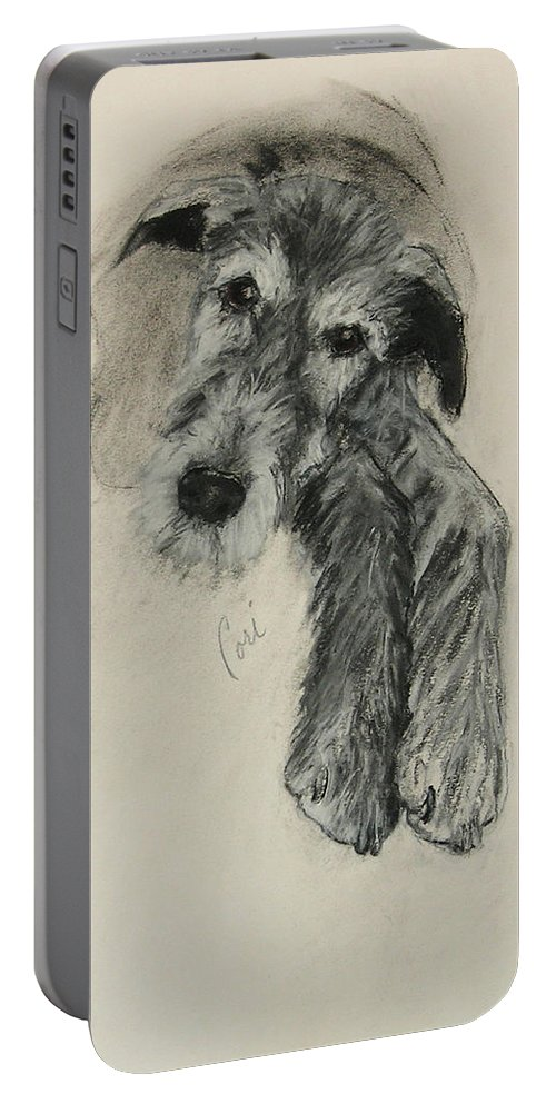 Irish Wolfhound Portable Battery Charger featuring the drawing Luck Of The Irish by Cori Solomon