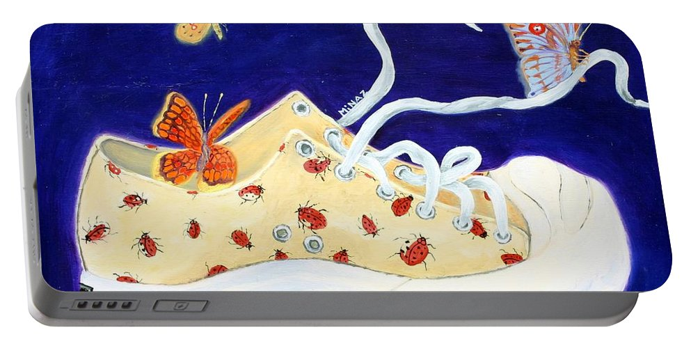Running Shoes Portable Battery Charger featuring the painting Lucky Lady Bug Shoe by Minaz Jantz