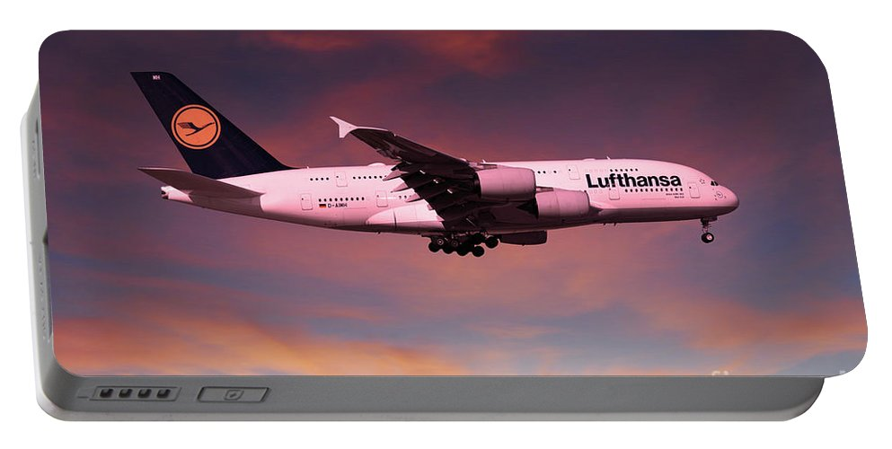 A380 Portable Battery Charger featuring the digital art Lufthansa Airbus A380 D-aimh by J Biggadike