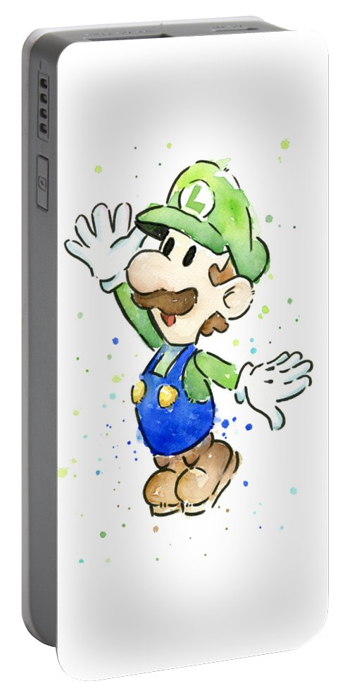 Luigi Portable Battery Charger featuring the painting Luigi Watercolor by Olga Shvartsur
