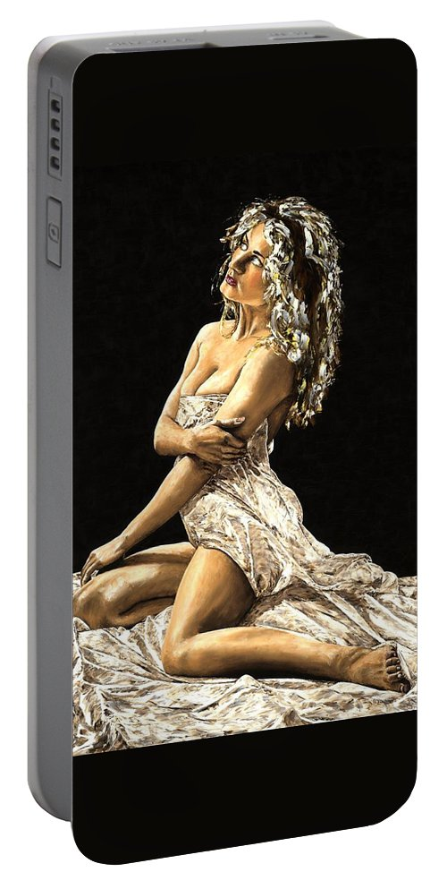 Nude Portable Battery Charger featuring the painting Luminous by Richard Young