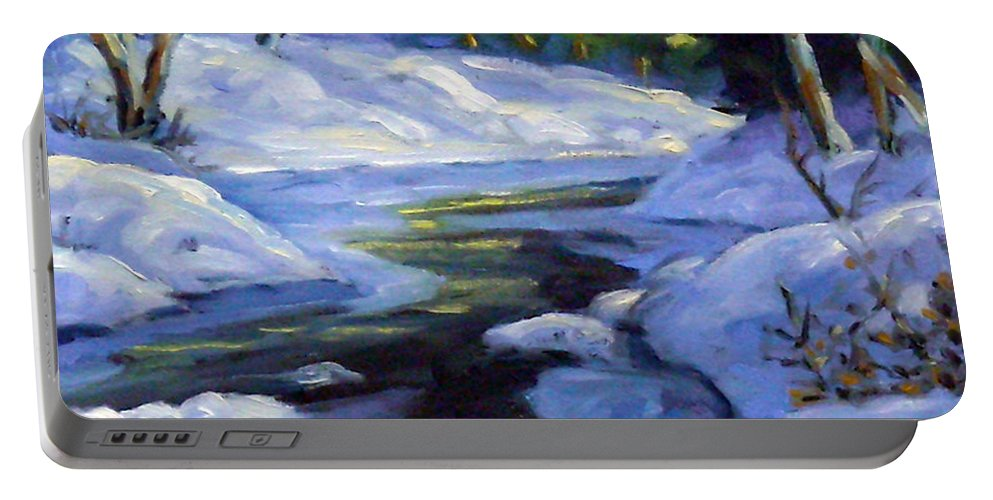 Art Portable Battery Charger featuring the painting Luminous Snow by Richard T Pranke