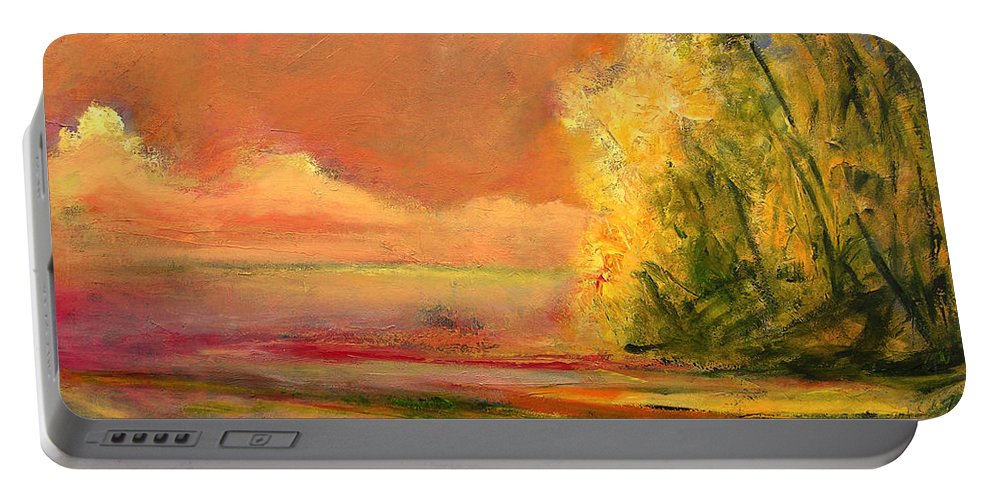 Large Canvas Reproductions Portable Battery Charger featuring the painting Luminous Sunset 2-16-06 Julianne Felton by Julianne Felton