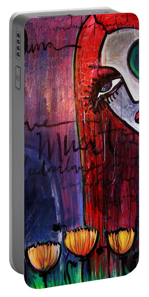 Luna Portable Battery Charger featuring the painting Luna Our Love Muertos by Laurie Maves ART