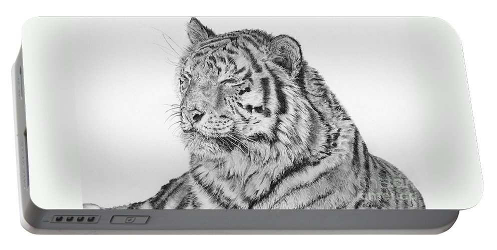 Siberian Tiger Portable Battery Charger featuring the drawing Luna by Shevin Childers