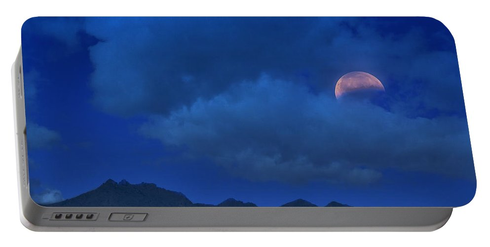 Blood Moon Portable Battery Charger featuring the photograph Lunar Eclipse Hide And Seek by Saija Lehtonen