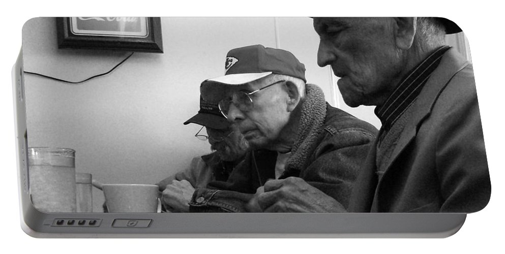 Diner Portable Battery Charger featuring the photograph Lunch Counter Boys - Black And White by Tim Nyberg