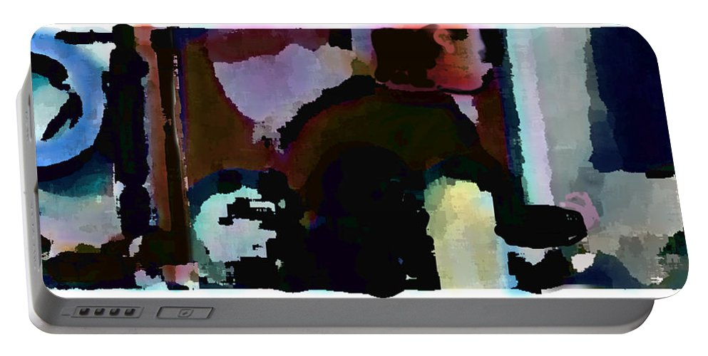 Abstract Expressionism Portable Battery Charger featuring the painting Lunch counter by Steve Karol