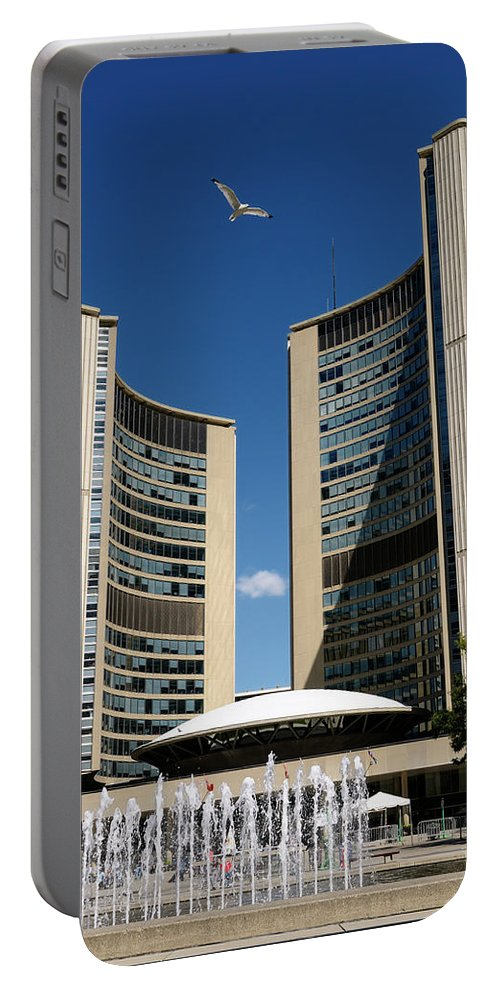 Lunchtime Portable Battery Charger featuring the photograph Lunchtime At Nathan Philips Square Toronto City Hall by Reimar Gaertner
