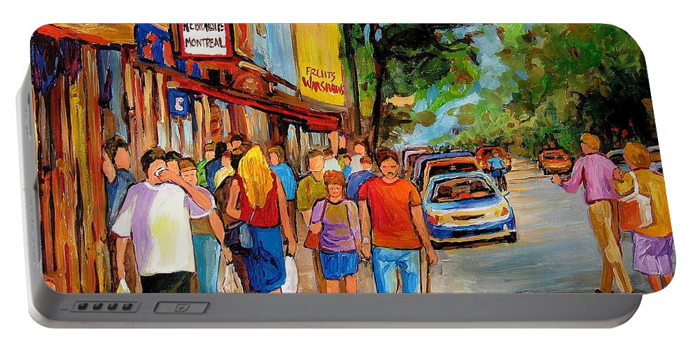 Montreal Streetscenes Portable Battery Charger featuring the painting Lunchtime On Mainstreet by Carole Spandau