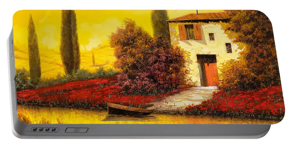 Landscape Portable Battery Charger featuring the painting Lungo Il Fiume Tra I Papaveri by Guido Borelli