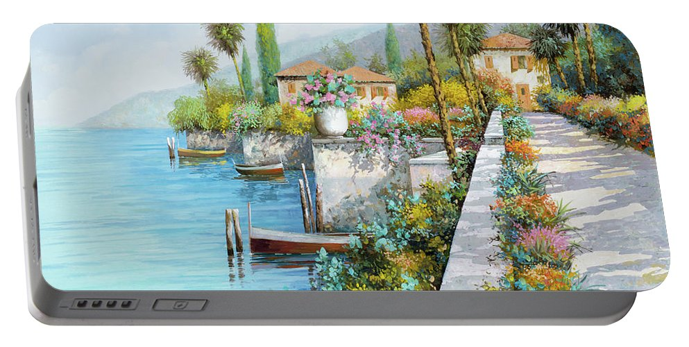 Lake Portable Battery Charger featuring the painting Lungolago by Guido Borelli