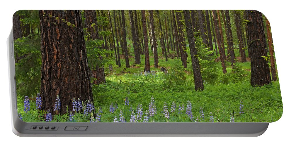 Forest Portable Battery Charger featuring the photograph Lupine Carpet by Mike Dawson