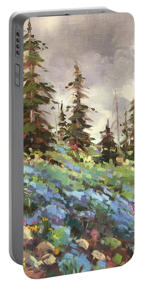 Landscape Portable Battery Charger featuring the painting Lupines And Bluebells by Mary Jabens