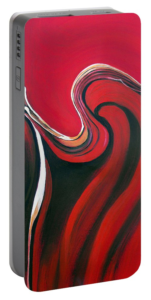 Abstract Portable Battery Charger featuring the painting Luscious Red by Ruth Palmer