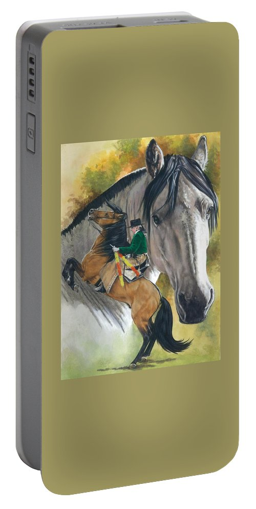 Hoof Stock Portable Battery Charger featuring the mixed media Lusitano by Barbara Keith