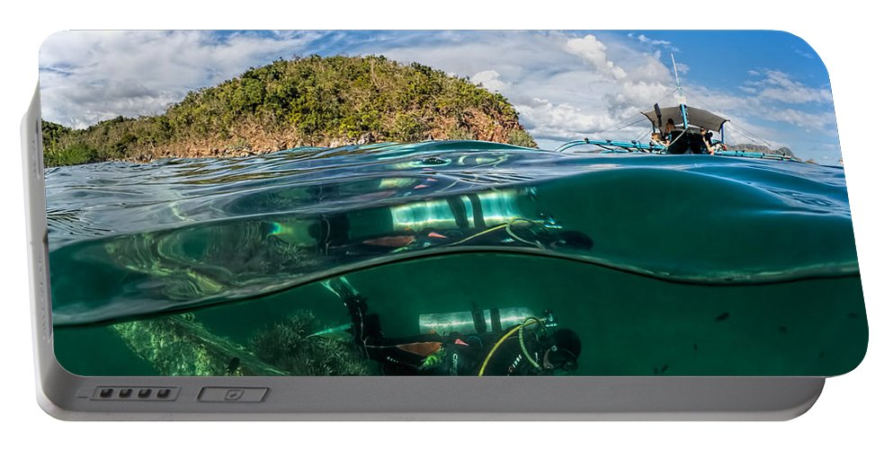 Lusong Portable Battery Charger featuring the photograph Lusong Gunboat Just Below Surface by Henry Jager