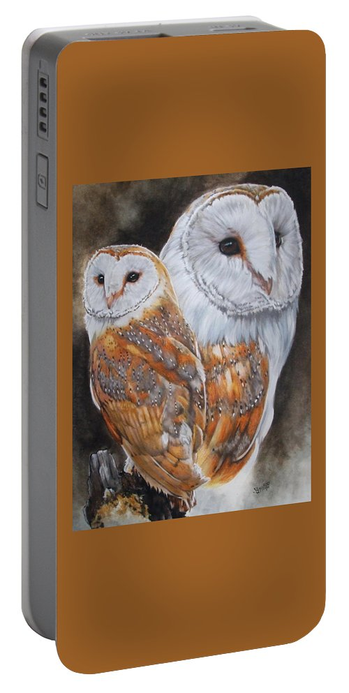 Bird Portable Battery Charger featuring the mixed media Luster by Barbara Keith