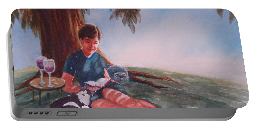 Woman Reading Portable Battery Charger featuring the painting Luz And Me by Marilyn Jacobson
