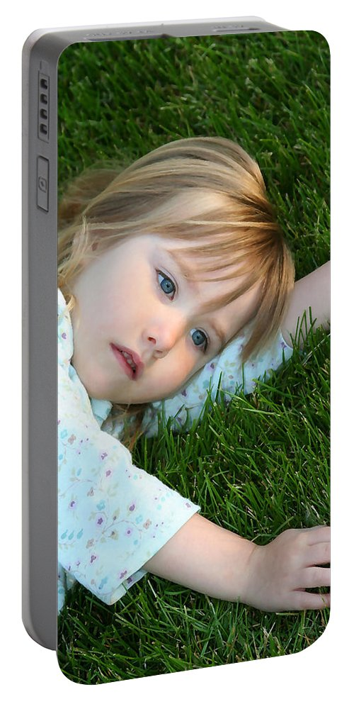 Girl Portable Battery Charger featuring the photograph Lying In The Grass by Margie Wildblood