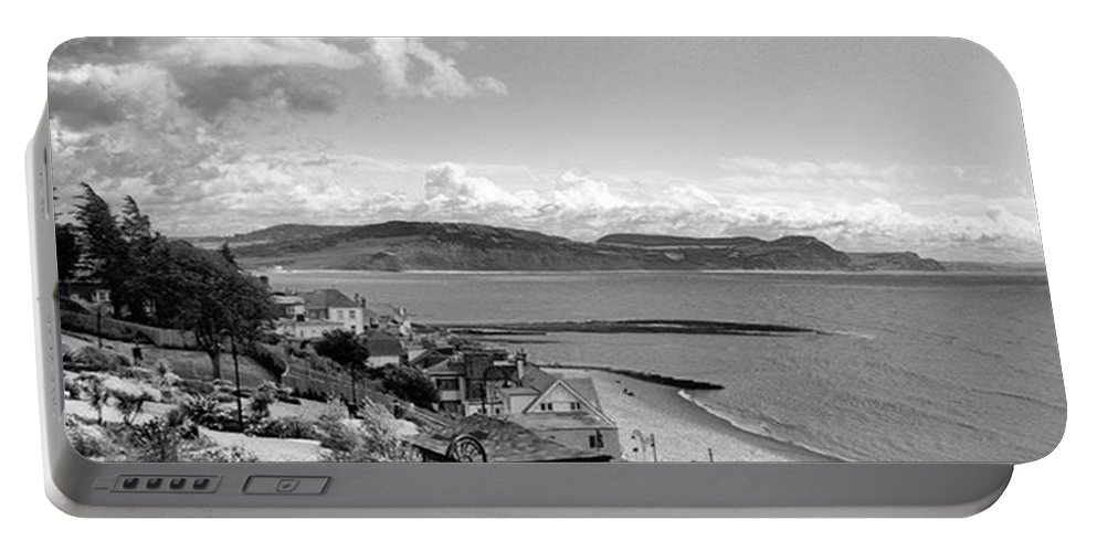 Blackandwhitephotography Portable Battery Charger featuring the photograph Lyme Regis And Lyme Bay, Dorset by John Edwards