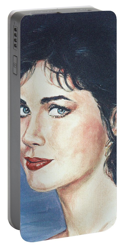 Lynda Carter Portable Battery Charger featuring the painting Lynda Carter by Bryan Bustard