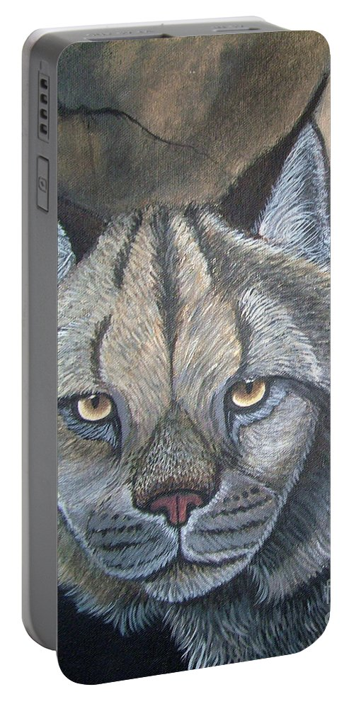 Lynx Portable Battery Charger featuring the painting Lynx by Nick Gustafson
