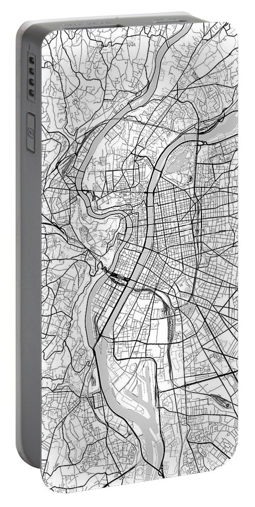 Road Map Portable Battery Charger featuring the digital art Lyon France Light Map by Jurq Studio